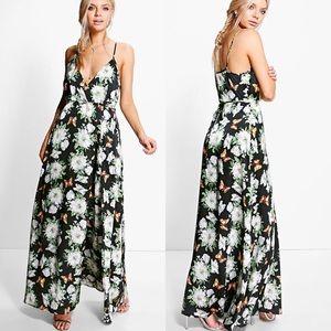 BOOHOO Karlie satin wrap dress NWT Size 10